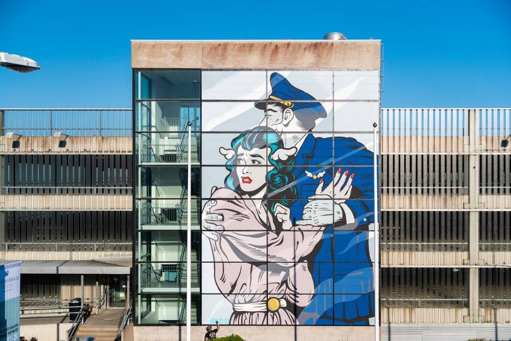 The full mural by D*face at the Gothenburg-Landvetter airport