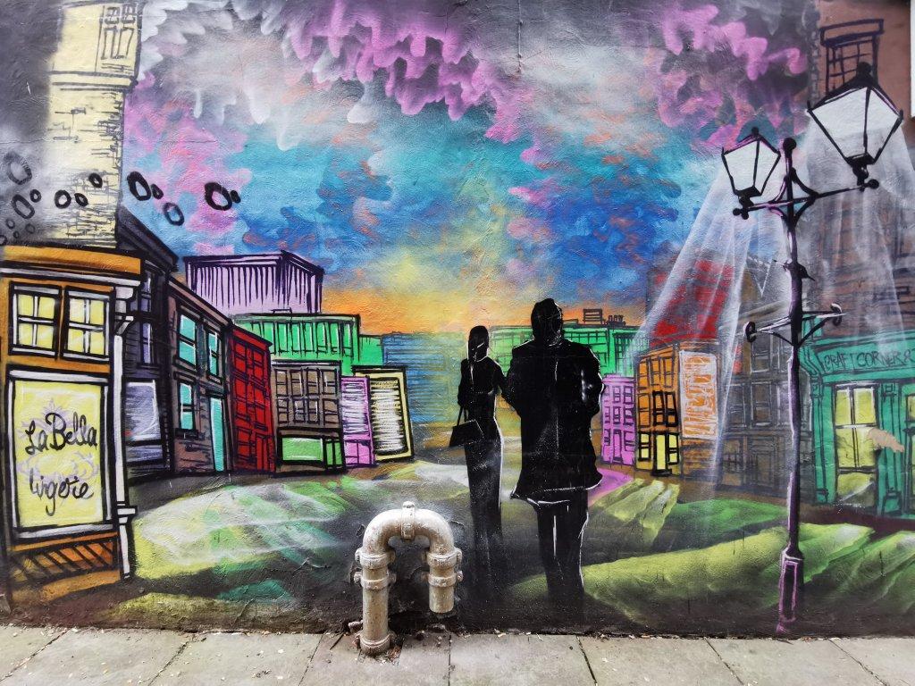 Rotherham street art by Mr Kisk near Rotherham minster