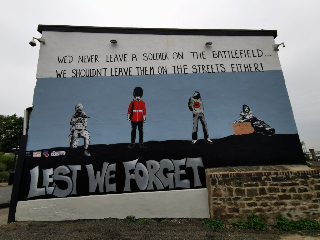 South Yorkshire street art in Barnsley 'Lest we Forget'