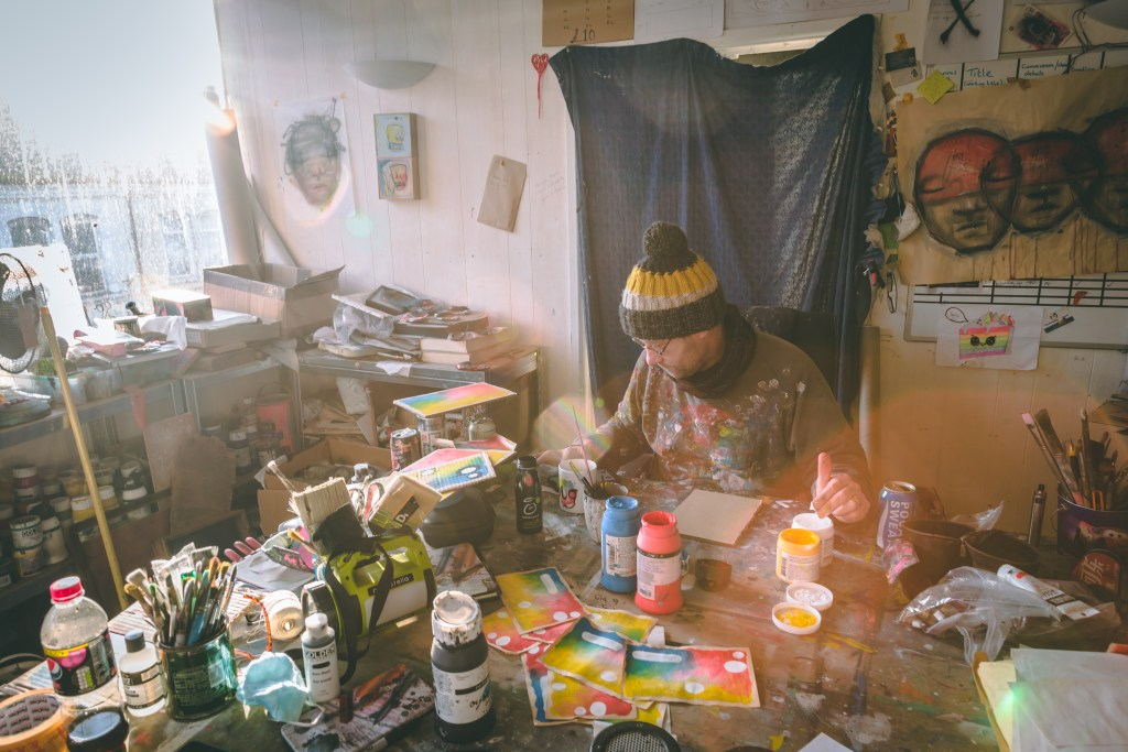 My Dog Sighs in his studio preparing for inside his exhibition in portsmouth