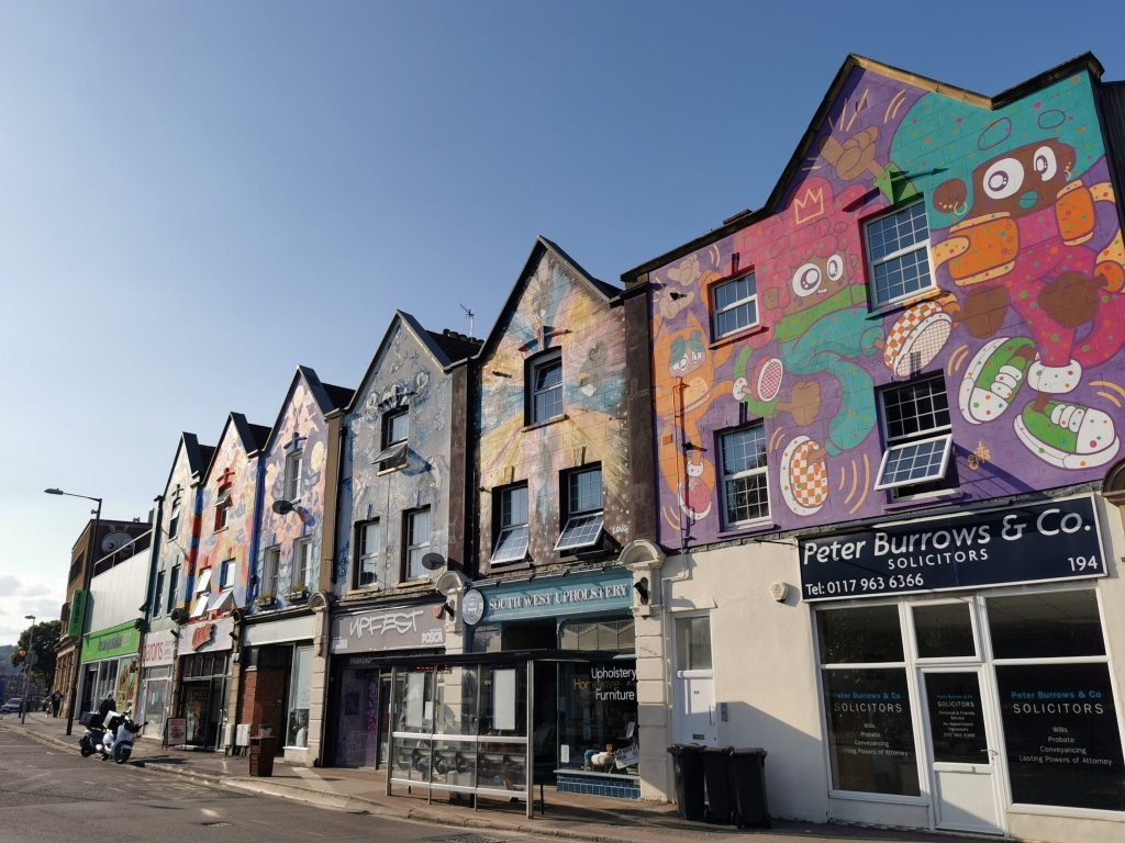 A view of the six sisters murals in Bristol on North Street