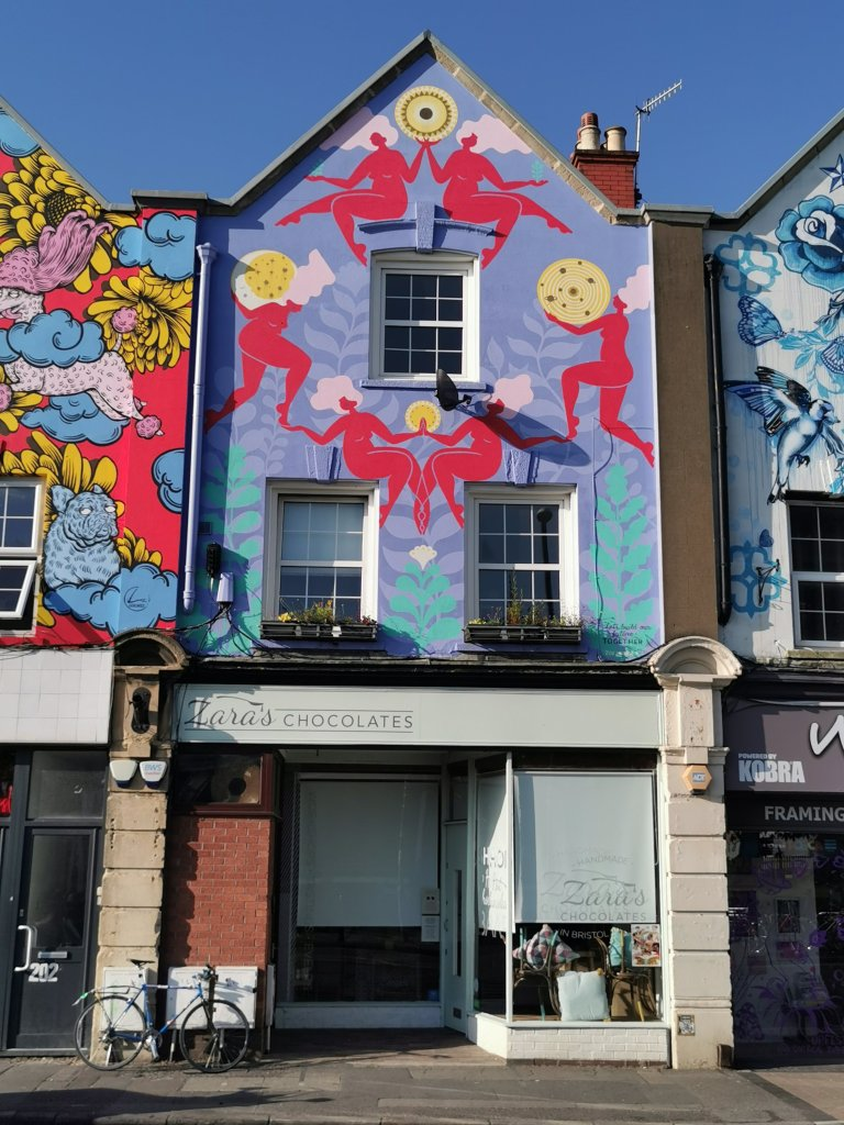 Mural by Zoe Power one of the six sisters murals in Bristol