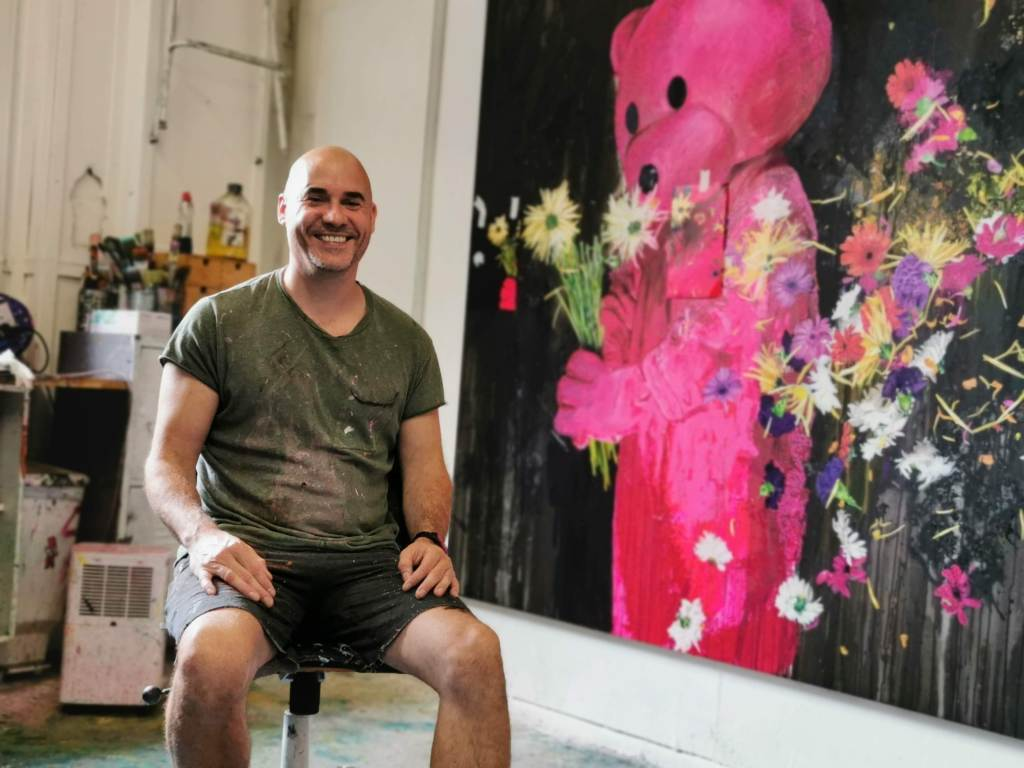 The artist LUAP in his studio prior to his 'The Unconscious Therapy' exhibition
