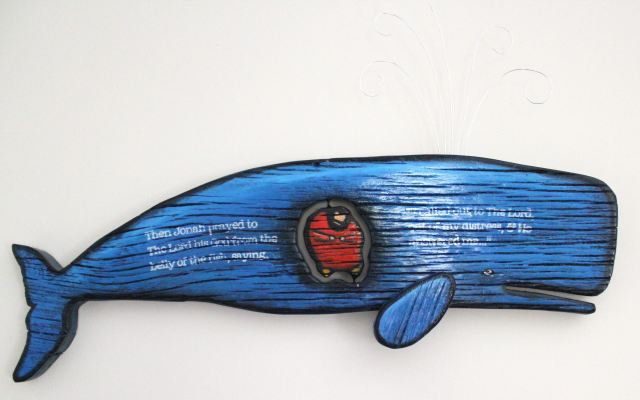 Wooden sculpture of Jonah in the whale