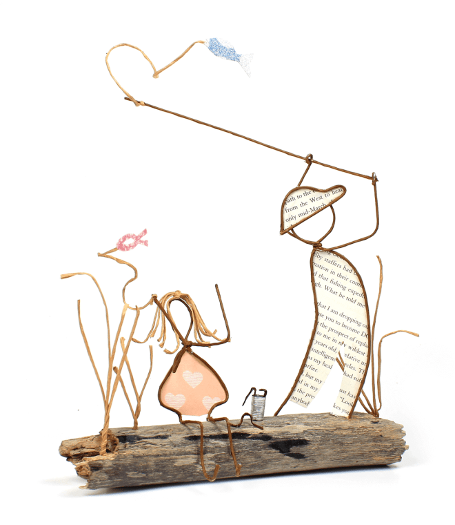 """Fishing with My Dad"" wire and paper sculpture"