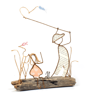 """""""Fishing with My Dad"""" wire and paper sculpture"""