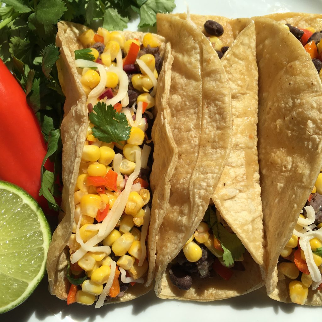 Quick and Easy Fresh Corn, Red Pepper and Black Bean Mini Tacos