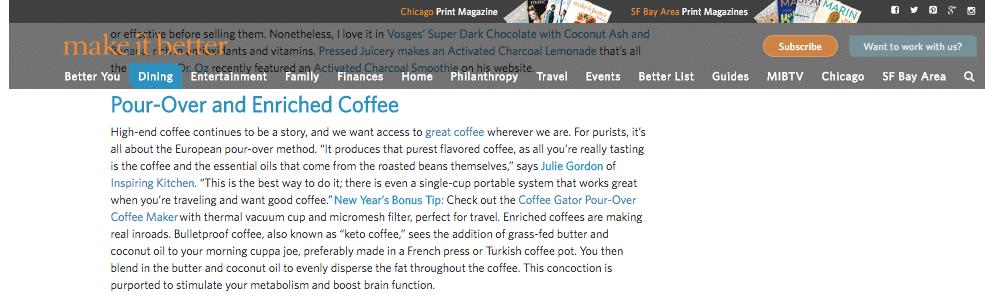 Inspiring Kitchen talks coffee trends on Make It Better Magazine