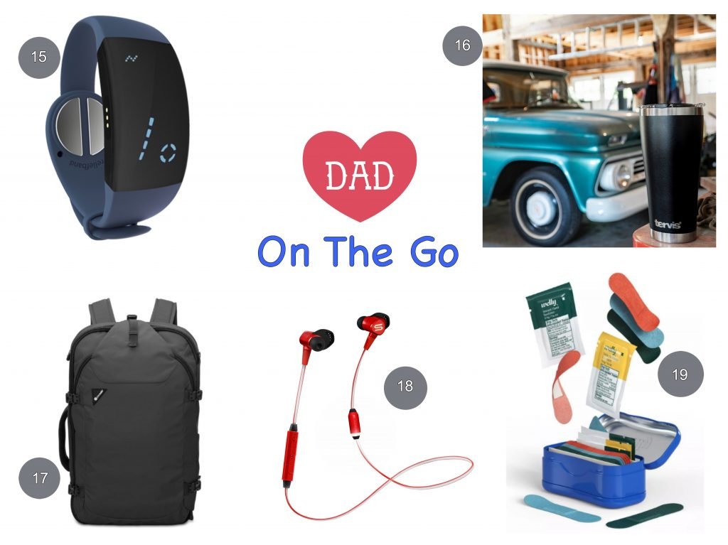 Gift ideas for dad on the go earphones tervis mug backpack