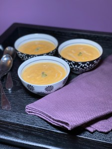 butternuts squash soup three bowls