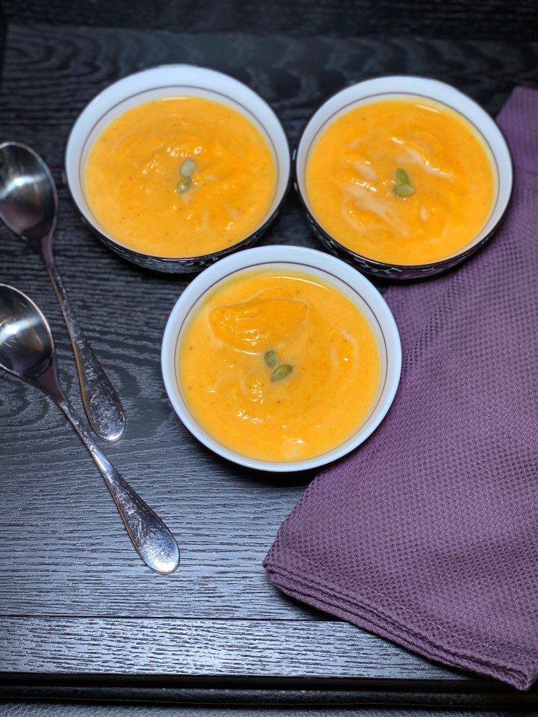 bowls of soup overhead
