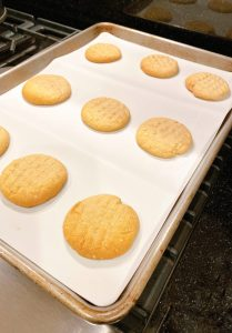peanut butter cookies from oven