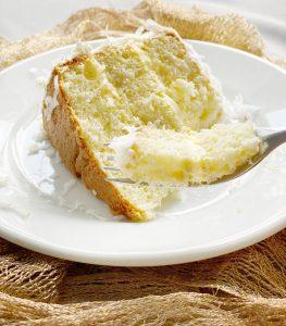 forkful of orange sponge cake