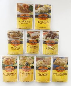 variety of Southeastern Mills baking and gravy mixes