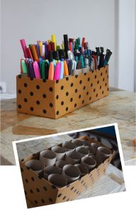 I love this idea for storing pens and markers of. What a ingenious way to re-purpose toilet paper rolls!