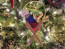 This easy Jesus in a manger Christmas Craft for Kids can be hung on the tree, the wall, the door, or anywhere you would like.