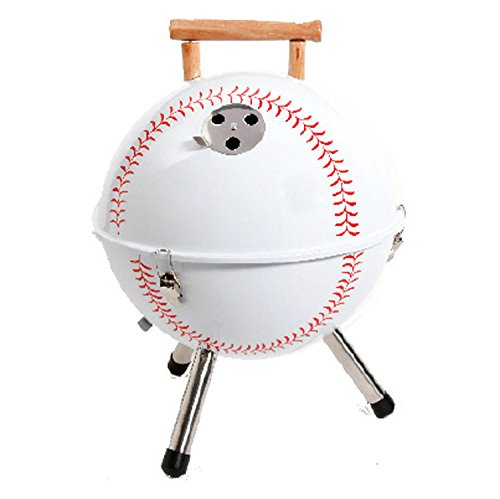 Gibson 107190.01 Home Baseball BBQ Steel Grill with Wood Handle, 12-Inch, White