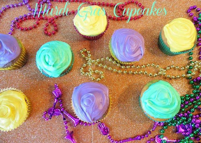 Easy Multicolored Mardi Gras Cupcakes