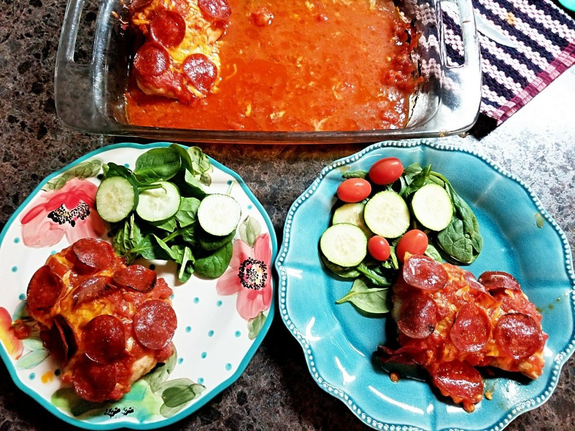 Easy Pepperoni Pizza Chicken Bake Recipe (Keto/ Low Carb)