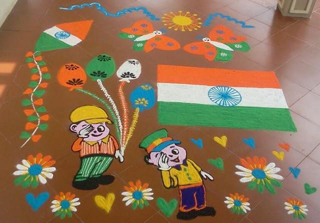 School Rangoli on 26 January