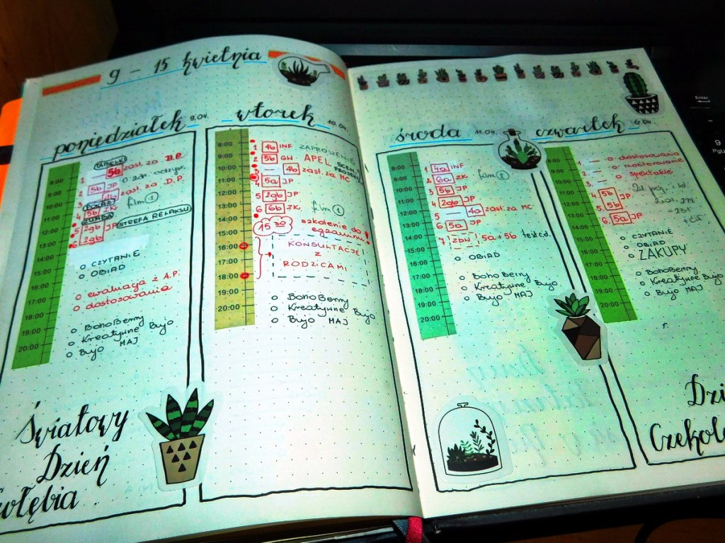 Kolory w bullet journal