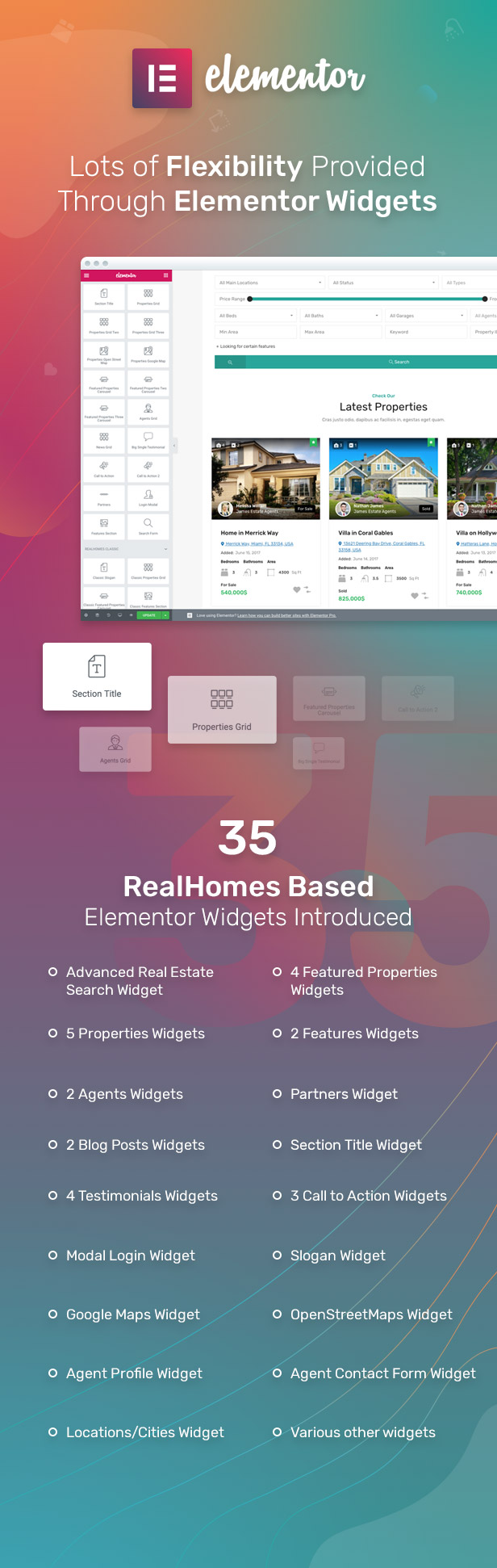 42 Elementor Widgets provided with RealHomes theme