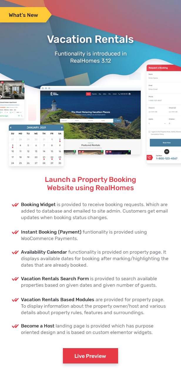 Property Vacation Rentals Functionality Provided in RealHomes