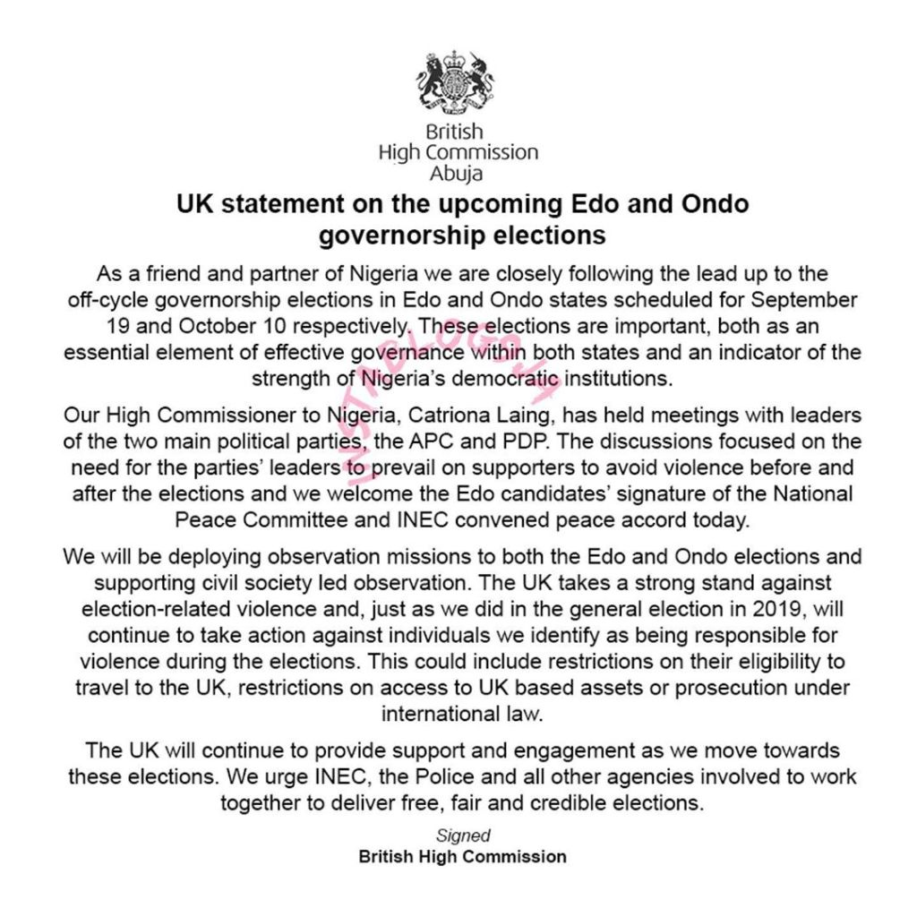 U.K to ban and seize the assets of perpetrators of violence in the forthcoming Edo, Ondo polls