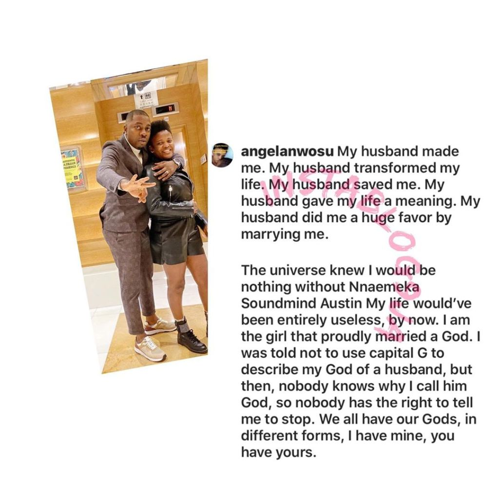 My husband is my God. He did me a huge favor by marrying me — Media personality Angela Nwosu. [Swipe]