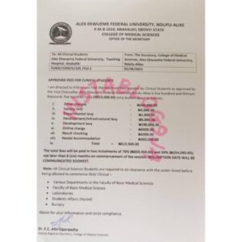 Outrage as Alex Ekwueme Federal University, Ebonyi State, releases tuition fees for medical students