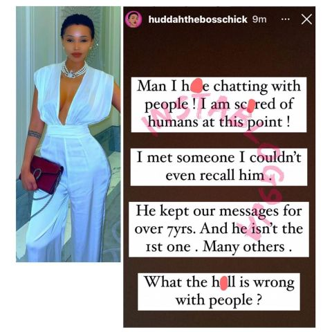 Be careful who you chat with — Socialite Huddah Monroe warns, after a man kept their chat for 7yrs. [Swipe]