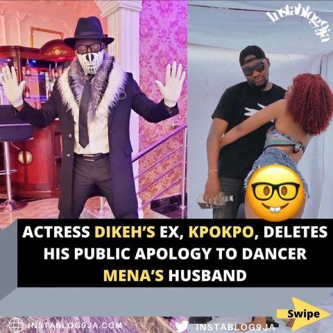 Actress Dikeh's ex, Kpokpo, deletes his public apology to dancer Mena's husband