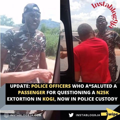 UPDATE: Police officers who a*saluted a passenger for questioning a N25k extortion in Kogi, now in police custody