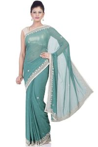 majesty_emerald_green_art_georgette_saree-jks3380