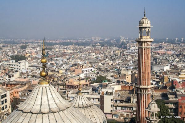 Panorama of Delhi Jama Masjid Mosque minaret