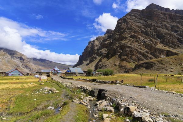 Sceneic view of Drass village with blue cloudy sky background , Kargil, Ladakh, Jammu and Kashmir, India