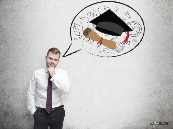 Handsome student is thinking about graduation and future career.