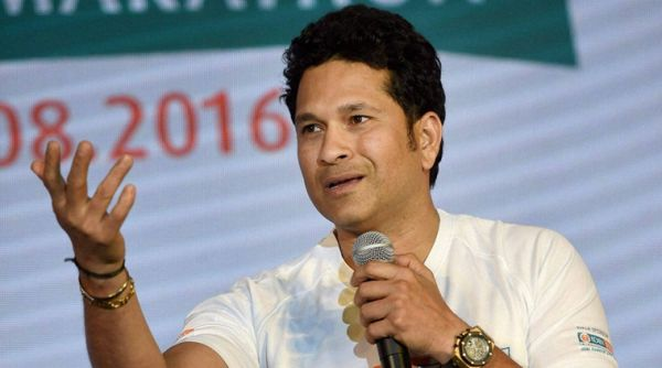 Mumbai: Cricketer Sachin Tendulkar during the announcement of the IDBI Federal life insurance Mumbai half marathon in Mumbai on Thursday. PTI Photo by Shashank Parade  (PTI4_14_2016_000206B)
