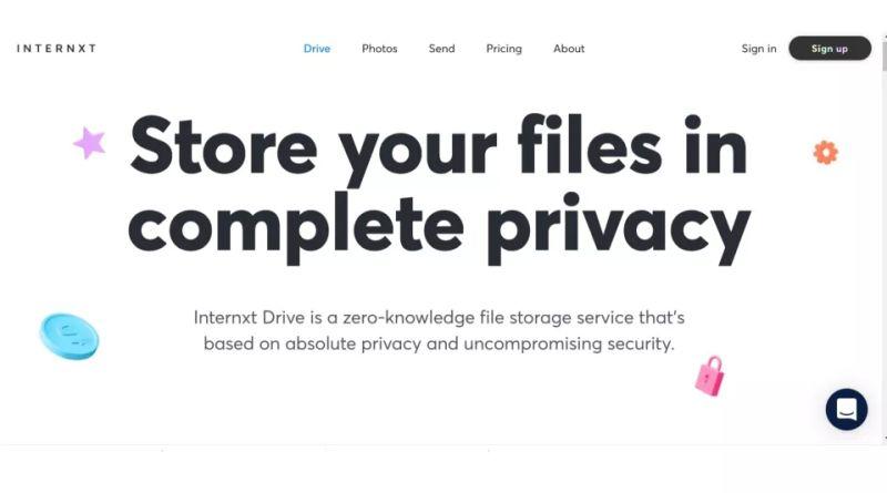 Internxt cloud storage provider with zero-knowledge feature