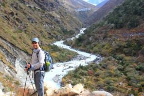 Crossing the Doodh Koshi to climb over to Ama Dablam Base camp