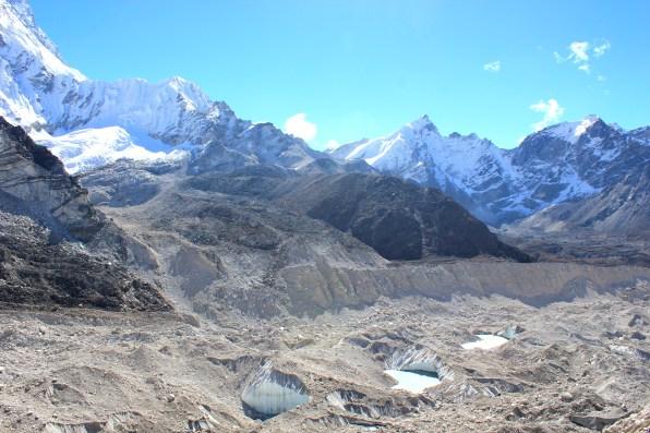 Crevasses and pools along the khumbu glacier