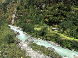 View of doodh koshi river that accompanies us throughout the hike