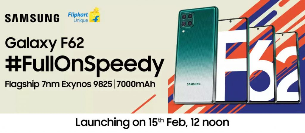 Samsung Galaxy F62 with Exynos 9825 7nm SoC, 7000mAh battery launching in India on February 15