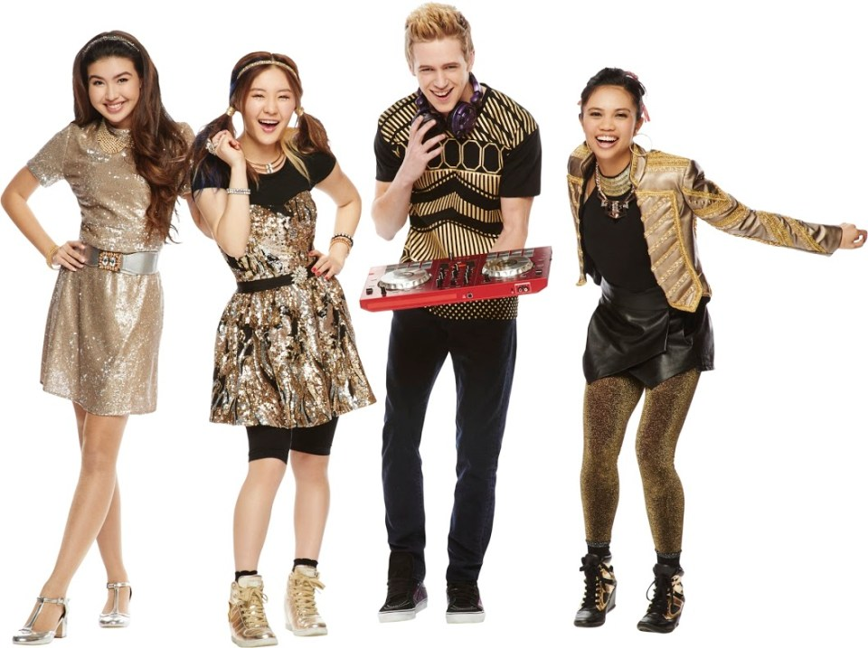 Make It Pop Season 1 Gallery: Pictured: Corki (Erika Tham) Jodi (Louriza Tronco) Sun Hi (Megan Lee) Caleb (Dale Whibley) in MAKE IT POP on Nickelodeon Photo Steve Wilke/Nickelodeon. © 2015 Viacom International, Inc All Rights Reserved.Show Costumer: Melanie JenningsShow Makeup: Catherine ViotShow Hair: Peggy KyriakidouRetouching: Boris Kravchenko/ Angry Tablet