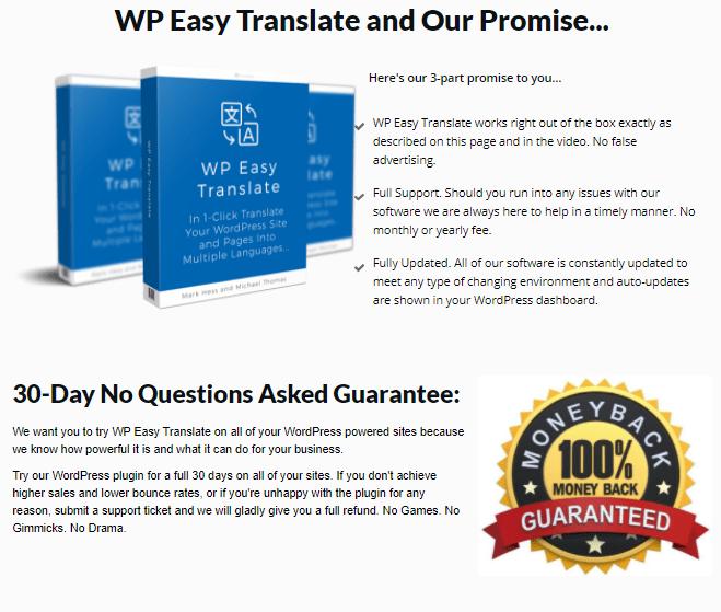 wp translate promise guarentee