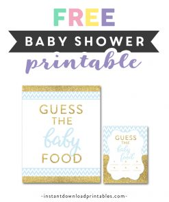 Free Printable Baby Shower Blue Gold Glitter Chevron Baby