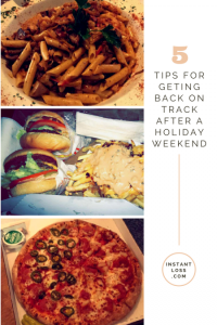 tips for geting back on track after a holiday weekend instantloss.com