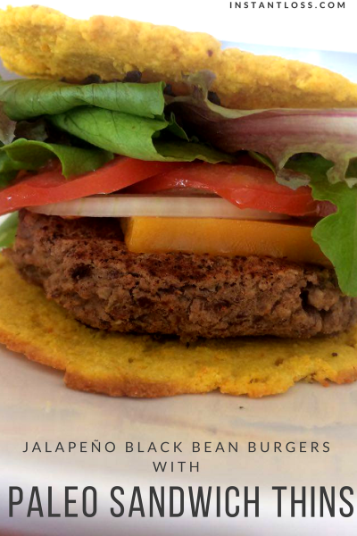 Jalapeño Black Bean Burgers and paleo Sandwich thins instantness.com
