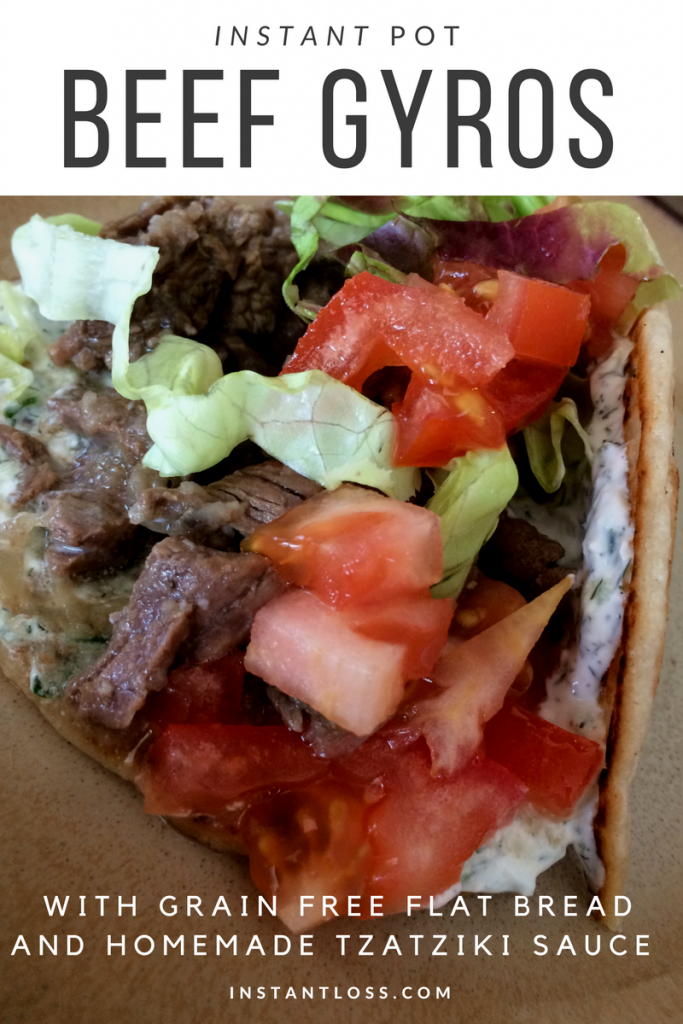 Instant Loss Beef Gyros with grain free flat bread and homemade tzatziki instantloss.com