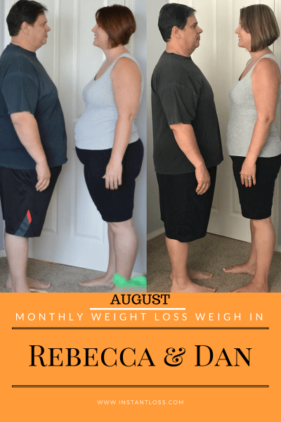 August Monthly Weight Loss Weigh In {Rebecca and Dan} instantloss.com